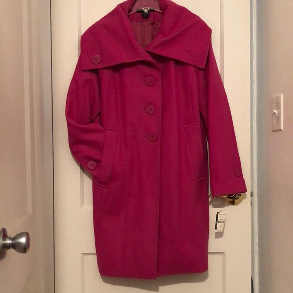 Pink Coat Wool Blend New York & Company Size 18.